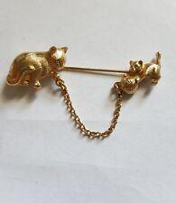 Vintage Signed AVON CAT &KITTEN with YARN BALL JABOT STICK PIN Gold Tone Jewelry