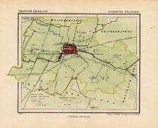 ANTIQUE MAP-NETHERLANDS-FRANEKER -FRIESLAND-KUYPER-1865