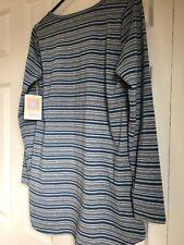 LuLaRoe Lynnae Blue/Teal Grey Ladies Stripe Long Sleeve Woman Top Size Small NEW