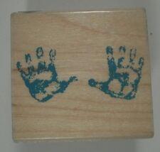 Baby Handprints Wood Mounted Rubber Stamp, Hero Arts, B2047, Newborn, Baby, Hand