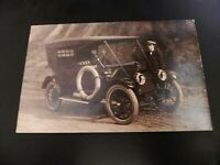 California CA Redwoods Old Car on Road Real Photo RPPC Cyka Acme Tires Man Hat