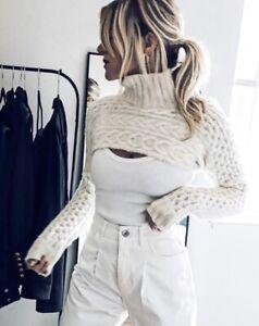 ZARA ARM WARMERS Cable Knit Turtleneck Sweater Bloggers Favorite M-L Ecru Crop