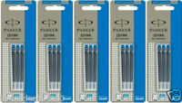 15 x Parker Quink BLUE Ink Cartridge refill for Ink Fountain Pen Made in France