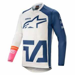 Alpinestars 2021 Adults Racer Compass Motocross MX Jersey - White/ Navy/ Pink