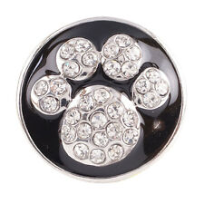SNAP IN BUTTON CHARM FITS GINGER SNAPS STYLE JEWELRY BLACK PAW #63 PETS ANIMAL