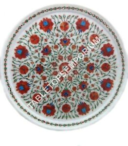 """12"""" Marble White Serving Plate Carnelian Floral Inlay Kitchen Gift Decor H3182"""