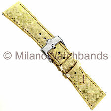 22mm Glam Rock Gold Saffiano Thick Genuine Leather Tapered Watch Band EZPINS SSB
