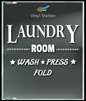 Laundry Room Decal Sign Business Store Vinyl Window Decal.
