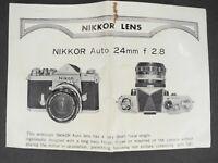 Nikon Nikkor-N Auto 24mm f/2.8 Non Ai 1969 Camera Lens Instruction