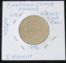 TWO NICE 1996 Iceland FIVE & TEN KRONUR BU Coins (Featuring Dolphins )