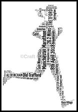 PERSONALISED MANCHESTER MARATHON 2018 WORD ART PRINT Picture Present GIFT LADY