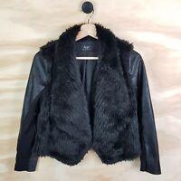Size 14 BARDOT Junior Girls Faux Leather & Faux Fur Black Jacket