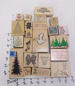 Wooden RUBBER STAMP Block Lot Merry Christmas Tree Snowman Santa Stockings