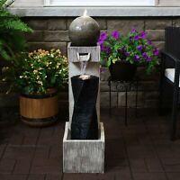 "Sunnydaze Modern Vogue Outdoor Water Fountain 35"" Garden Water Feature w/LED"