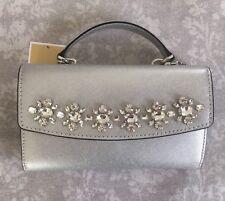 00902751f0ee NWT Michael Kors Ava Jeweled Large Phone Clutch Handle Crossbody Chain  Silver