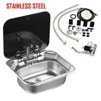 RV Caravan Camper Stainless Steel Hand Wash Basin Kitchen Sink w/ Lid&Faucet NEW