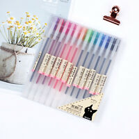 12 Colors Gel Pens Glitter Ballpoint Craft Drawing Brush For Colouring Book UK