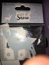 12 x christmas gift tags Let it snow, blue rendeer silver star blue circle NEW
