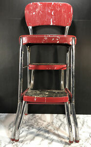 Vintage Cosco Red Chrome Kitchen Step Stool Chair with Pull Out Steps.