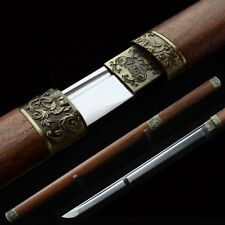 Hand Forged Japanese Katana Samurai Sword Carbon Steel Blade with Wooden Sheath