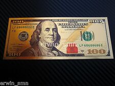 ▓▒░NEW GOLDEN $100░▒▓ Gold Plated 24K New Banknote $100 Dollar Bill w/ PVC Frame