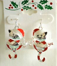 Santa Cat / Candy Cane Christmas Earrings / Silver-tone Fish Hook / Holiday