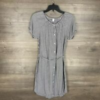 Old Navy Women's Size Small Button Down Dress Short Sleeve Striped White Gray