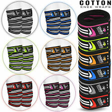 Weight Lifting Knee Wraps Straps Elasticated Cotton Gym Workout Bandages