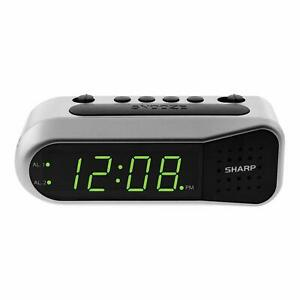 Sharp DIGITAL ALARM CLOCK with TWO ALARM SETTINGS Ascending Alarm Volume GREEN