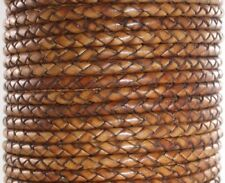 6.5~7mm Genuine Round Bolo Braided Leather Cord Burnt Brown - 1 yard