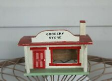 Vintage Mid 20th Century Folk Art  Hand Painted Grocery Store Model Building