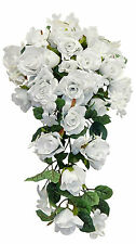 WHITE ROSES Cascade Bridal Bouquet Silk Wedding Flowers Arch Gazebo Centerpieces