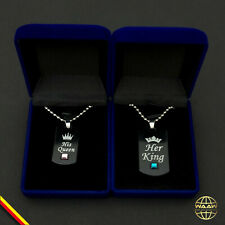 Geschenk Set King Queen Anhänger  Love Liebe Paar Partner Halskette Gravur