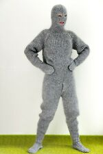 Extreme catsuit bodysuit grey fuzzy mohair gray overall mittens socks balaclava