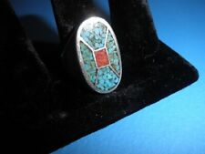 Ring / Size 11 / Beautiful / Zuni Inlaid Turquoise & Coral Vintage 1970's