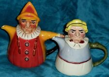 WOOD POTTERS OF BURSLEM MR & MRS PUNCH & JUDY TEAPOTS