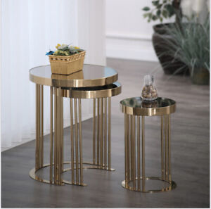 Avellino Gold Metal Stackable Nesting Tables End Tables Side Table Mirrored