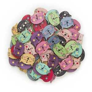 30pcs Cat Shape Wood Buttons for Sewing Scrapbooking Cloth Home Decor 29mm