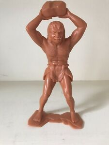 MARX SIX INCH CAVEMAN THROWING STONE OVERHEAD - VERY GOOD HARD TO FIND
