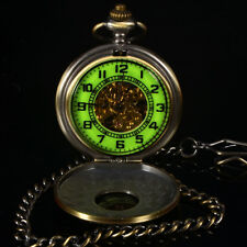 Luminous Face For Dark Area Skeleton Mens Mechanical Hand Winding Pocket Watch