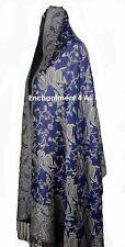 Elegant Reversible 2-Ply 100% Cashmere Pashmina PAISLEY Shawl Wrap, Blue/Ivory