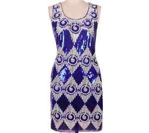 GREAT GATSBY BLUE 1920s ELEGANT FLAPPER CHARLESTON DECO SEQUIN DRESS CHIFFON M