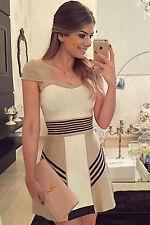 Mini Abito nudo righe gonna top scollo aderente Nude Sexy Stripes Skater Dress M