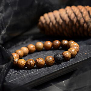 10MM Wood Lava Onyx Agate Healing Balance Charm Men Women Bracelets Jewelry Gift