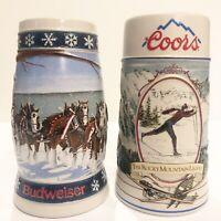 2 Beer Mug Stein Coors & Budweiser Rocky Mountain Legend & Lighting The Way Home