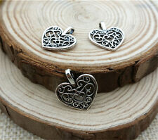 Wholesale 16pcs Tibetan silver Hollow Heart Charm Pendant beaded Jewelry Finding