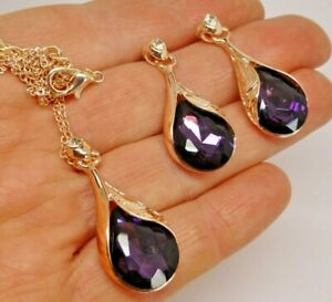 Vintage style gold plate dark purple rhinestone necklace earring set gift box