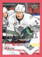 2018-19 Simon Kubicek Upper Deck CHL Rookie Exclusives 006/100 - Thunderbirds