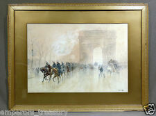 """19th Century Watercolor """"Cavalry Parade"""" signed Francis Garat (FRENCH, 1870)"""
