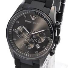 NEW EMPORIO ARMANI AR5889 Mens Watch Gunmetal Black Silicone Chronograph AR5889